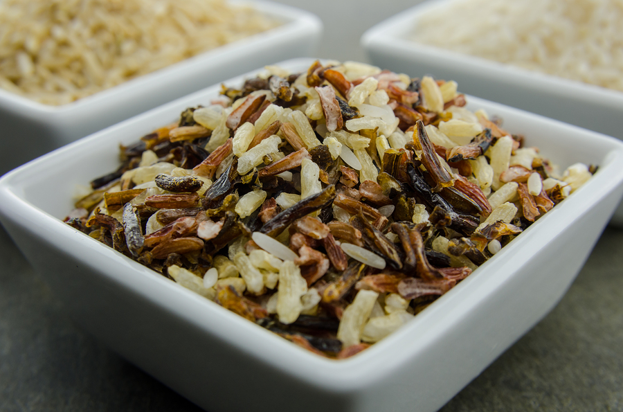 Wild Rice Gluten free in a square white bowl